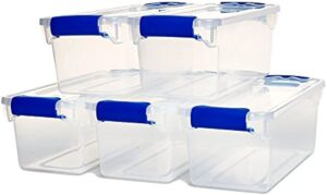 Homz Plastic Storage, Modular Stackable Storage Bins with Blue Latching Handles, 7.5 Quart, Clear, 5-Pack