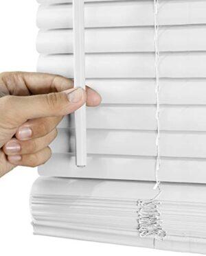 "Chicology Horizontal Venetian Slat Window Shade Cordless 1-Inch Mini Blinds, 24"" W X 60"" H, White (Commercial Grade)"