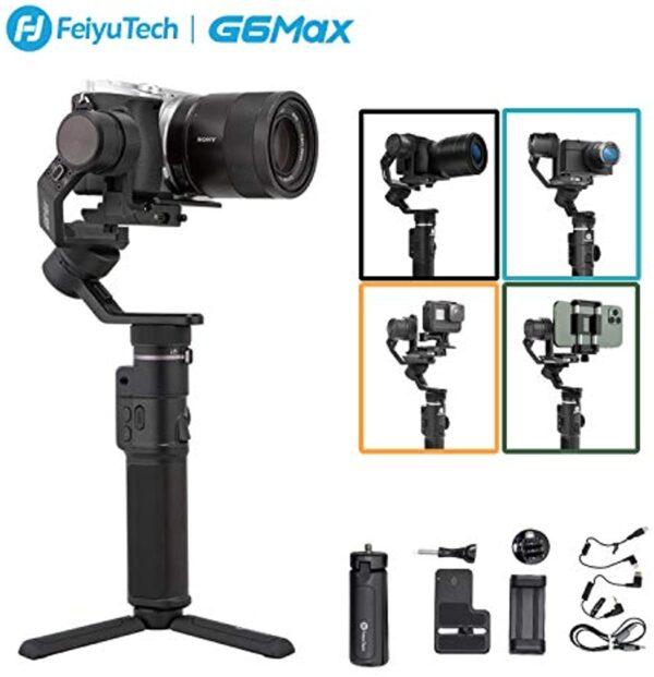 FeiyuTech G6max Camera Gimbal Stabilizer for Mirrorless Camera/Action Camera/Pocket Camera/Smartphone,for Sony a6300/a6500 Canon EOS 200D Panasonic,GoPro Hero 8/7/6/5 SJcam YI 4K,iPhone 12/12Mini X Xs Xs Max XR