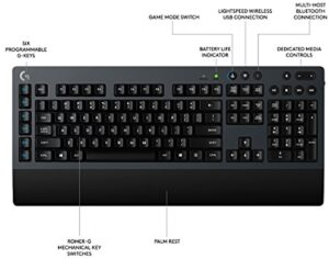 Logitech G613Â LIGHTSPEED Wireless Mechanical Gaming Keyboard, Multihost 2.4 GHz Plus Bluetooth Connectivity, Carbon (920-008386)