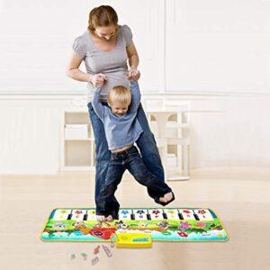 "M SANMERSEN Kids Piano Mat, 39.5"" X 14"" Piano Keyboard Dancing Mat Electronic Funny Animal Touch Carpet Musical Blanket Toys 2 Year Old Girl Birthday Gifts for Kids Girls Boys Green"