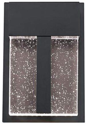 Westinghouse Lighting 6578900 Cava II Modern One-Light LED Outdoor Wall Light Sconce Matte Black Finish, Bubble Glass