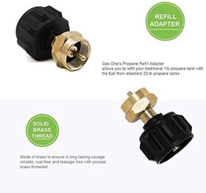 Gas One Propane Refill Adapter for 1lb Propane Tanks & Fits 20lb Propane Tank QCC/Propane Refill/Great for rv Propane Adapter refills/1lb Propane Adapter