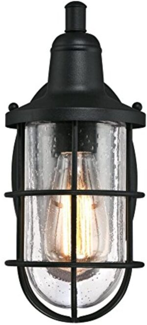 Westinghouse 6334700 Crestview One-Light Outdoor Wall Fixture, Textured Black Finish with Clear Seeded Glass