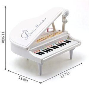 Amy&Benton Piano Keyboard Toy for Kids Piano 31 Keys White Musical Baby Piano Toy with Microphone for 2 3 4 Year Old Toddlers Gifts
