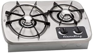 Flame King YSNHT600 LP Gas Drop-In 2 Burner RV Cooktop Stove with Cover