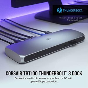 Corsair TBT100 Thunderbolt 3 Dock – 85W Charging, Dual 4k 60Hz Support, 2X HDMI, 40Gb/s ,USB-C Gen 2 (15W) x2, USB-A 3.1 (7.5W) x2, Gigabit Ethernet – for Mac and PC laptops (CU-9000001-NA)