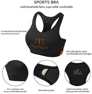 habibee Women's Sports Bra Seamless Racerback Removable Padded Medium Support for Yoga Gym Activewear Workout Fitness Bra