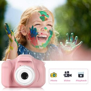 Upgrade Children Digital Cameras,KROMEN 1080P Kids Camera with 32GB Memory Card Gifts for 3-12 Girl Boy Video Record Toy(Pink)