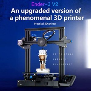 2020 Creality Upgrade Ender-3 V2 FDM 3D Printer with Silent Motherboard Meanwell Power Supply Carborundum Glass Platform and Resume Printing 220x220x250mm, for 3D Printing Beginner