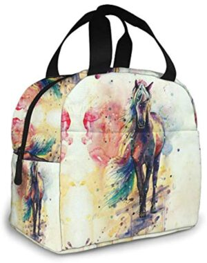 Watercolor Horse Insulated Lunch Bag for Women Large Capacity, Reusable Tote Bag Lunch Container, Leakproof Liner Tote with Zipper Closure/Pockets/Sturdy Handles for Travel