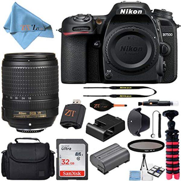 Nikon D7500 20.9MP DSLR Digital Camera with AF-S DX NIKKOR 18-140mm f/3.5-5.6G ED VR Lens + SanDisk 32GB Memory Card + Camera Bag + Accessory Bundle (Black)