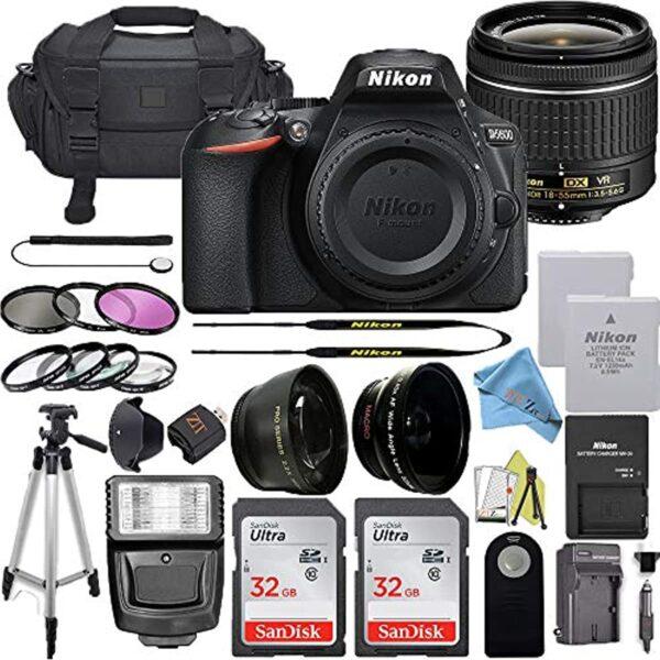 NIKON D5600 AF-P DX NIKKOR 18-55mm f/3.5-5.6G VR + 2pc SanDisk 32GB Memory Cards + Accessory Kit (Nikon 18-55MM + SanDisk 32GB)