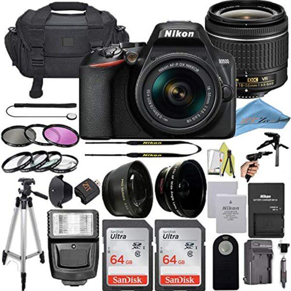 Nikon D3500 DSLR Camera with 24.2 MP Sensor, NIKKOR 18-55mm f/3.5-5.6G VR Lens, 2 Pack Sandisk 64GB Memory Card, Bag, Flash Light, Tripod + ZeeTech Accessory Bundle