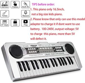 Kids Piano Keyboard Mini 37 Keys Starter Piano Multi-Function Kids Piano Keyboard with Microphone MP3 Function Piano for Kids Silver 16.5Inch