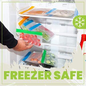 [12 Pack] Reusable Snack Bags Keep Food Fresh, Easy Ziplock Bags are Durable and Food Grade, Freezer Safe and Leak Proof, Hand Washable and Eco-Friendly, A Gift for Your Kitchen