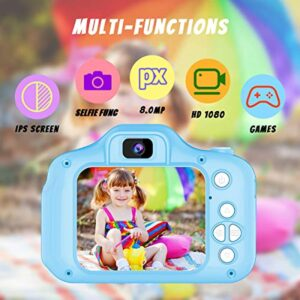 Kids Camera Toys for 3-8 Year Old Boys Girls Joyjam 8.0 MP Digital Cameras for Children Video Record Electronic Toy Birthday Gifts Christmas Blue