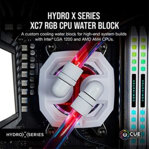Corsair Hydro X Series XC7 RGB CPU Water Block (1200/AM4) - Nickel-Plated Copper Cold Plate - White - More Than 60 Micro-Cooling Fins - 16 Individually Addressable RGB LEDs (CX-9010007-WW)