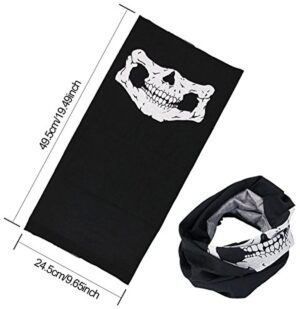 WOVTE Skull Headwear Seamless Motorcycle Bandanas Black (2 Packs)
