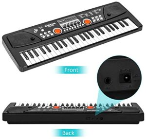 M SANMERSEN Kids Piano Keyboard with Microphone, 49 Keys Electronic Keyboards Pianos for Beginners Kids Piano with MP3 Function for 3-12 Years Girls Boys