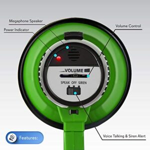 Dana Trading Company Portable Megaphone Speaker Siren Bullhorn - Compact and Battery Operated with 20 Watt Power, Microphone, 2 Modes, PA Sound and Foldable Handle for Cheerleading and Police Use - Pyle PMP22GR, green