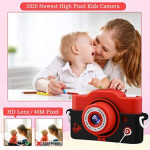 Kids Camera,1080P 40MP Digital Camera for Kids 2.0 Inches Screen Toddler Camera for Boys & Girls Anti-Drop 8x Digital Zoom Children Camera for Birthday Toy Gifts 4-14 Year Old with MP3 Music Player, Puzzle Game, Soft Silicone Case, 32GB SD Card