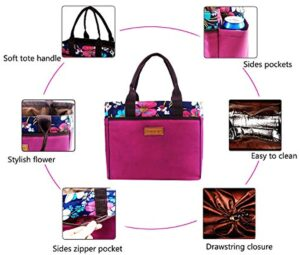 Large Tote Lunch Bag for Women Adults Insulated Cooler Bag with 4 Sides Pocket Drawstring Closure for Office Picnic Travel Blue Flower (Purple)