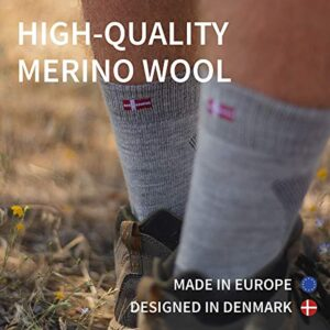 DANISH ENDURANCE Merino Wool Hiking & Walking Socks 3-Pack for Men, Women & Kids, Trekking, Outdoor