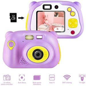Kids Camera, Kids Digital Camera, 12.0 MP WiFi Kids Camera, Kids Toy for Boys Girls, Best Birthday Festival Gifts for Kids [32GB TF Card Included](Pink)