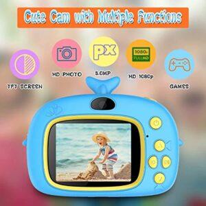 Kids Camera, TREKOO Video Camera for Children, Digital Camera Toys Gift for Toddler Age 3 4 5 6 7 8 Year Old Boys Preschool Birthday Present, Blue