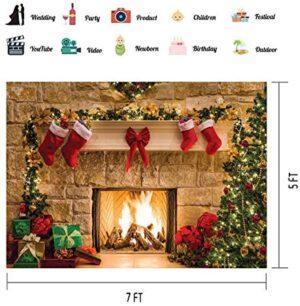 WOLADA 7x5ft Merry Christmas Backdrop for Photography Xmas Fireplace Tree Stocks Shinning Photo Backdrop Baby Kids Portrait Family Christmas Festival Party Decor Photo Studio Prop 11209