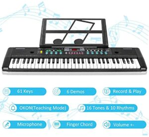 Kids Keyboard Piano 61 Keys Music Piano for Kids Electronic Piano Keyboard with Microphone for 3-10 Years Old Girls Boys Beginners