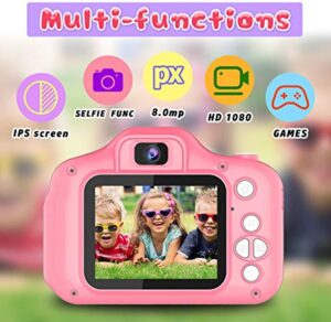 Seckton Upgrade Kids Selfie Camera, Best Birthday Gifts for Girls Age 3-9, HD Digital Video Cameras for Toddler, Portable Toy for 3 4 5 6 7 8 Year Old Girl with 32GB SD Card-Pink