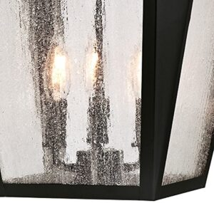 Westinghouse 6339100 Valley Forge Outdoor Pendant, Matte Black Finish with Washed Copper Accents and Clear Seeded Glass, Three Light