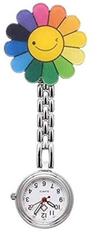 LHKJ Nurses Fashion Quartz Clip-on Fob Brooch Hanging Pocket Smile Flower Watches