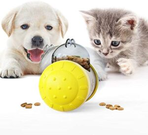 YESURPRISE Pet Slow Feeder Treat Ball Tumbler, Cats Dog Toys for Pet Tooth Cleaning, Chewing, Fetching, Increases IQ Interactive,Food Dispensing Ball Slow Feed Bowl Tumbler Design Ball for Puppy, Small Medium Cats, Dogs, Pets (Yellow-White)