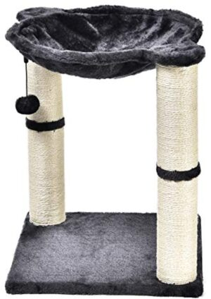AmazonBasics Cat Condo Tree Tower With Hammock Bed And Scratching Post - 16 x 20 x 16 Inches, Grey