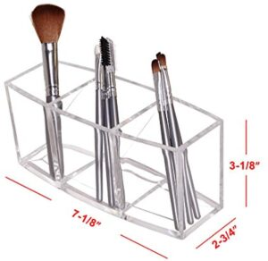 Dseap Makeup Brush Holder Organizer - Acrylic, 3 Compartments - Make up Brushes Holder, Makeup Brush Cup Container Storage Case, Clear