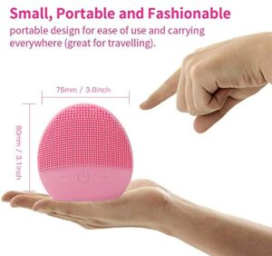 Mini Silicone Facial Cleansing Brush - FEITA Waterproof Silicon Face Cleaner and Electric Masager System for All Skin Types (Pink)