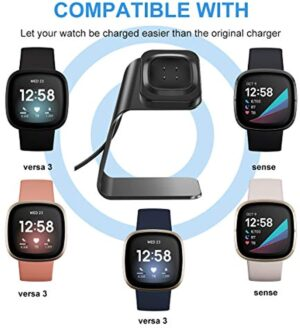 CAVN Charger Dock Compatible with Fitbit Sense/Versa 3, Charger Stand Charging Cable Dock Station Base Cradle with 4.5ft USB Cord Accessories for Sense/Versa 3 Smartwatch