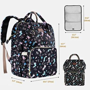 Diaper Backpack Waterproof Baby Nappy Bags Mom Insulated Bottle Pockets ORANIFUL Multi-Functional Large Travel Back Pack Built-in USB Charging Port with Changing Pads and Stroller Straps (Black)