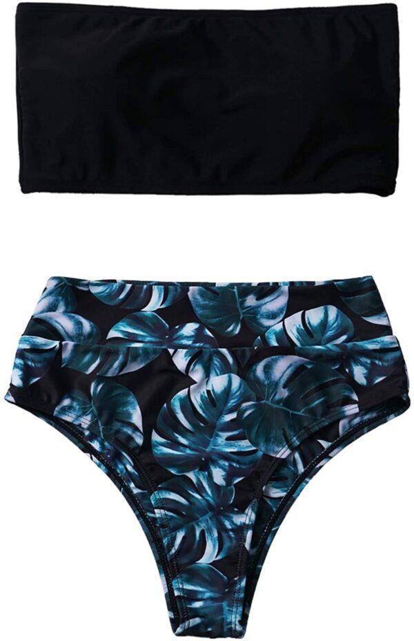 Women 2 Pieces Bandeau Bikini Set Swimsuits with Shoulder Strap High Waist Bathing Suit High Cut