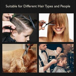 OMID 15Pcs Hair Cutting Scissors Set, Barber Hair Cutting Scissors/Shears Kit for Barber, Salon, Home - Haircut Scissors,Teeth Shears, Comb,Salon/BarberCape, Clips, Black Hairdressing