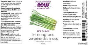 Now Lemongrass Liquid Oil, 30ml