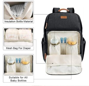 Diaper Bag Backpack Waterproof Baby Nappy Bag with Insulated Pockets Large Changing Bag Multi-function Travel Backpack for Mom and Dad Black